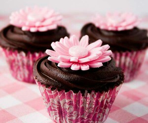cupcake, flowers, and pink image