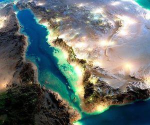 earth, world, and lights image