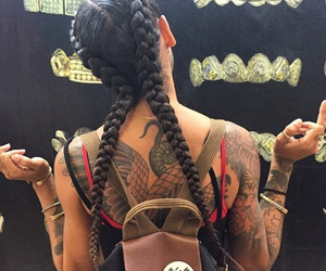tattoo, girl, and braid image