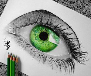 green, drawing, and eye image