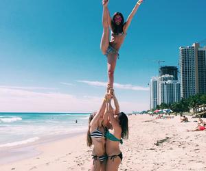 beach, girl, and cheer image
