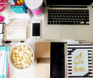 school, study, and popcorn image