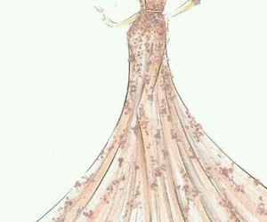 dress, drawing, and pink image