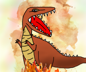 dino, scary, and doodle image