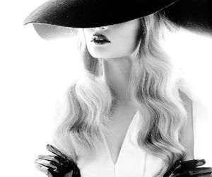 fashion, black and white, and hat image