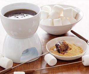 chocolate, fondue, and marshmallows image