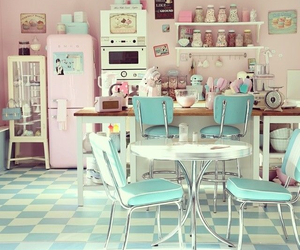 kitchen, pink, and pastel image