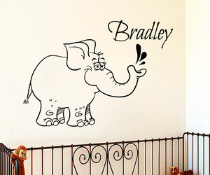 baby elephant, wall decals, and Vinyl Decal image