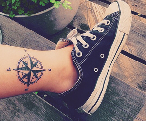 compass, girlytattoo, and family tattoo image
