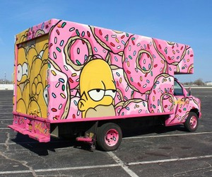 pink, donuts, and simpsons image