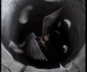 angel, feathers, and fallen image