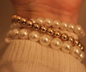 bracelets, gold, and pearls image