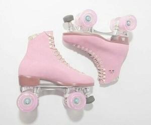 pink, pastel, and skate image