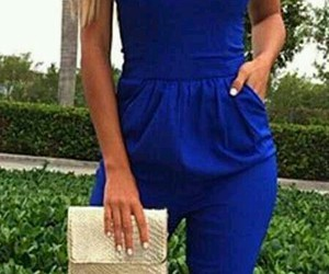 blue, jumpsuit, and onepiece image