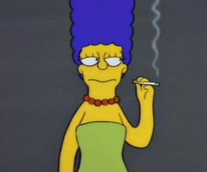 smoke, marge simpson, and the simpsons image