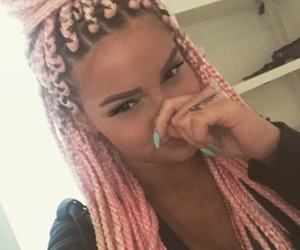 pink, braid, and hair image