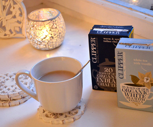 tea, candle, and cup image