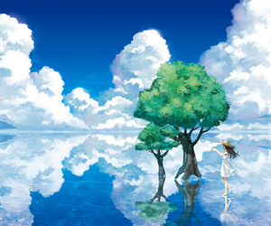 anime, sky, and tree image