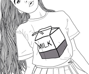 girl, outline, and milk image