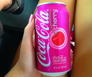 cherry, pink, and coca cola image
