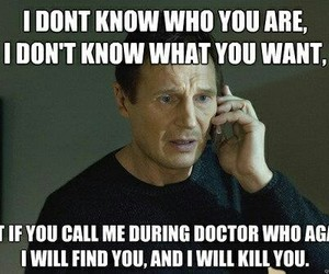 doctor who, liam neeson, and funny image