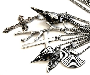 necklace, cross, and feather image