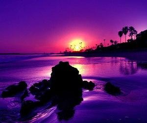 sunset, purple, and beach image