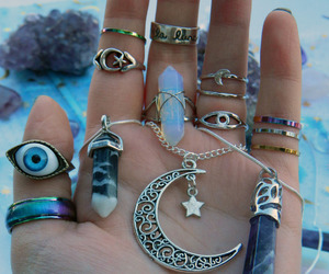 moon, necklace, and eye image