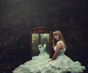 girl, mirror, and dress image