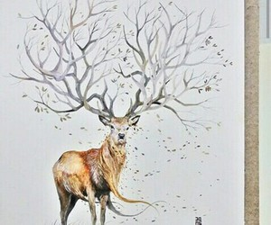 deer, leaf, and tree image