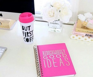 pink, coffee, and girly image
