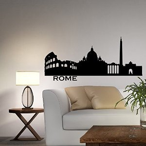 Wall Decal Vinyl Sticker Rome Skyline City Silhouette Italy Wall Decals Vinyl Stickers Living Room Bedroom Office Home Decor C021