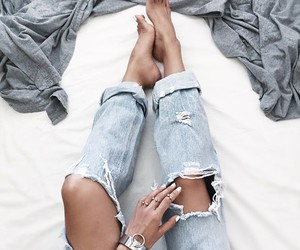 bed, girl, and jeans image