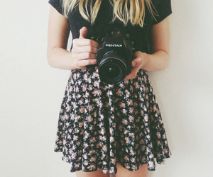 girl, camera, and outfit image