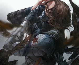 bucky barnes, winter soldier, and captain america image