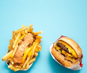 food, blue, and burger image