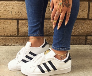 adidas, nails, and shoes image