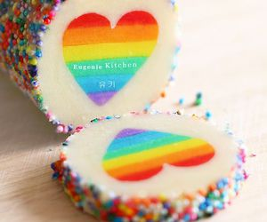 rainbow, heart, and cake image
