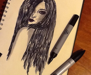 beauty, black, and draw image