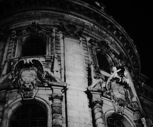 black and white, architecture, and dark image