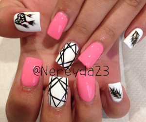 girly, nails, and pink and white image