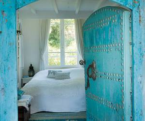 blue, bedroom, and door image