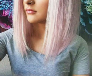 hair, pink, and piercing image