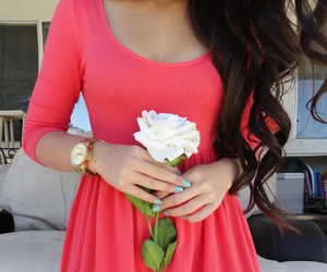 dress, hair, and flowers image