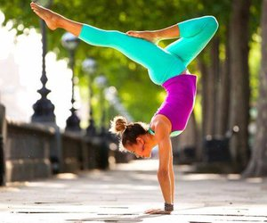 girl, yoga, and fit image