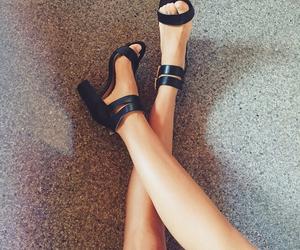 black shoes, fashion, and feet image