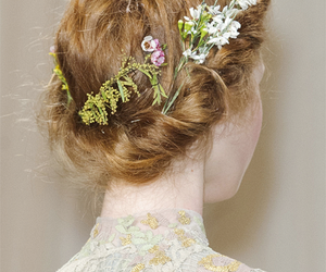 flowers, hair, and model image