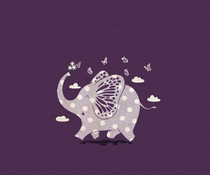 elephant, purple, and butterfly image