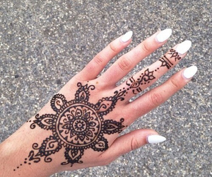 hand, henna, and mandala image