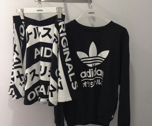 adidas, b&w, and black image